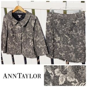 Ann Taylor floral Blazer & skirt set gray size 12P